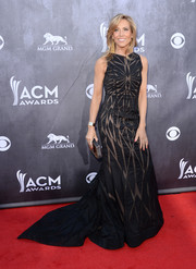 Sheryl Crow went for modern glamour in a geometric-patterned black gown by Christian Siriano during the ACM Awards.