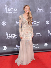 Danielle Bradbery looked every bit the country princess in an intricately beaded nude gown during the ACM Awards.