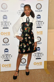 Marsai Martin completed her ensemble with a pair of black platform pumps by Michael Kors.