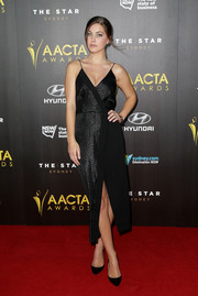 Charlotte Best went for a lingerie inspired cami dress with a wrap-over detail by Ginger & Smart at the 4th AACTA Awards.