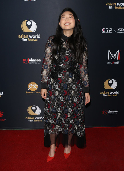 More Pics of Awkwafina Pumps (5 of 10) - Heels Lookbook - StyleBistro [in harms way,red carpet,clothing,carpet,premiere,flooring,fashion,dress,footwear,joint,long hair,awkwafina,arclight culver city,california,4th annual asian world film festival - closing night screening]