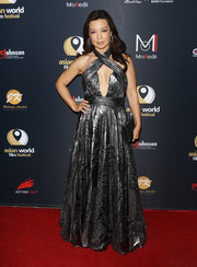 Ming-Na Wen sizzled in a cleavage-baring gunmetal halter gown by Jovani at the Asian World Film Festival.
