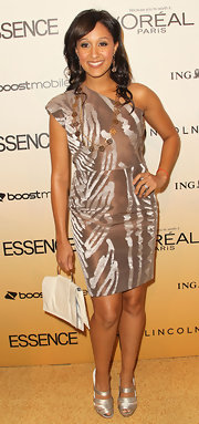Tamera Mowry completed her look with strappy satin sandals at the 4th Annual Essence Black Women in Hollywood Luncheon.