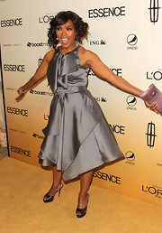 Angela shined at the Essence Black Women in Hollywood luncheon wearing a silver cocktail dress with structured layers of ruffles.