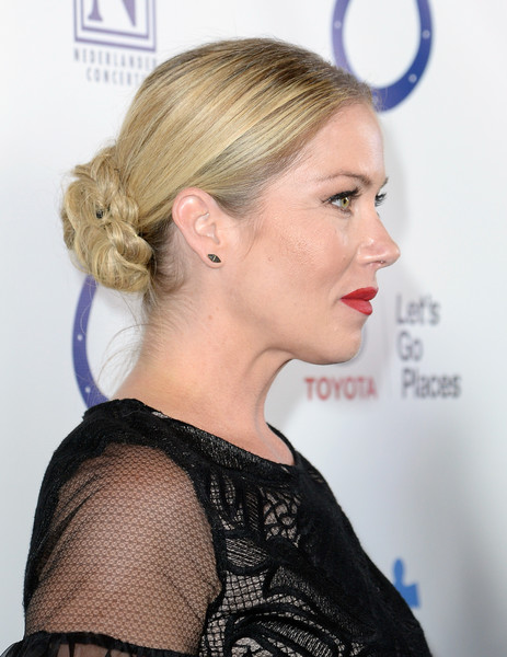 Christina Applegate pulled her hair back into a braided bun for the Light Up the Blues event.