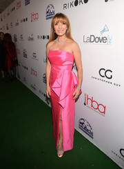 Jane Seymour cut a glamorous figure in a strapless pink column dress at the Hollywood Beauty Awards.