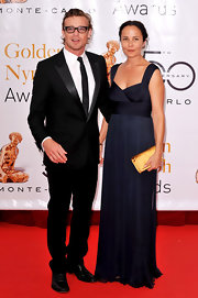This navy blue evening gown suits Rebecca Rigg beautifully.