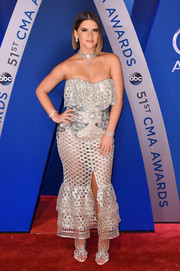 Maren Morris looked seductive in a perforated strapless dress by Francesco Scognamiglio at the 2017 CMA Awards.