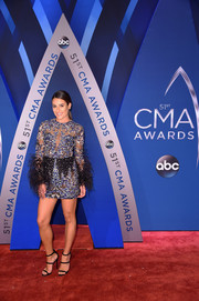 Lea Michele looked party-ready in an embroidered and feathered mini dress by Zuhair Murad at the 2017 CMA Awards.
