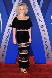 Cam went for boho glamour in a tiered black velvet and lace gown by Tadashi Shoji at the 2017 CMA Awards.