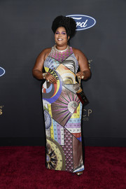Lizzo cut a vibrant figure in a graphic sequined gown by Mary Katrantzou at the 2020 NAACP Image Awards.