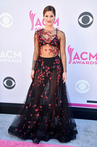 Cassadee Pope got majorly sultry in a sheer, floral-sequined gown by Yanina Couture for the 2017 ACM Awards.