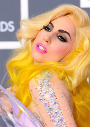 Lady Gaga struck a pose on the red carpet with pouty bubblegum pink lips.