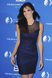 The ruching on on Daniela Ruah's midnight blue cocktail dress was to die for.