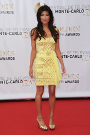 Jacqueline MacInnes Wood was a stunner in her studded yellow cocktail dress at the closing ceremony of the Monte Carlo TV Festival.