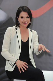 Lana Parrilla topped off her tank and skinnies combo with a stylish black-and-white blazer.