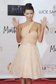 Jacqueline MacInnes Wood oozed ultra-feminine elegance in a multi-textured nude one-shoulder dress at the Monte Carlo TV Festival opening ceremony.