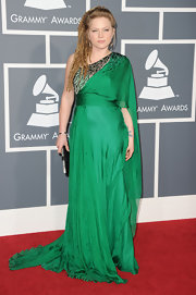 Crystal was a vision at the Grammy Awards in a silk one-shouldered emerald green evening gown.