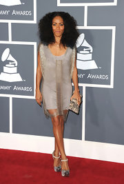 Jada was a fringed beauty at the Grammy Awards in a 20's inspired silver design.