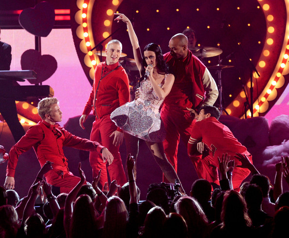 More Pics of Katy Perry Corset Dress (4 of 17) - Dresses & Skirts Lookbook - StyleBistro [performance,entertainment,performing arts,event,red,stage,musical,concert,public event,performance art,california,los angeles,staples center,annual grammy awards,show,signer katy perry]