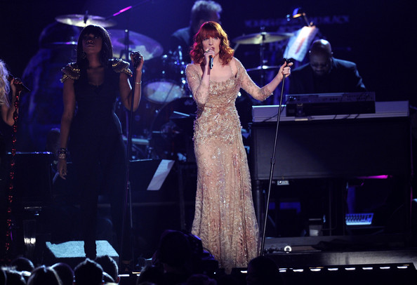 More Pics of Florence Welch Evening Dress (2 of 16) - Dresses & Skirts Lookbook - StyleBistro [singers,florence welch,jennifer hudson,l-r,annual grammy awards,show,california,los angeles,staples center]