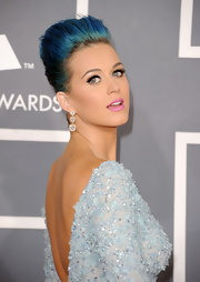 Katy Perry wore her blue tresses in a voluminous French twist at the 54th Annual Grammy Awards.