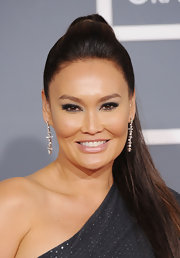 Tia Carrere pulled her hair back in a high ponytail for the Grammy Awards.