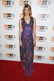 Laura Dern opted for a purple paisley-print maxi dress when she attended the New York Film Festival premiere of 'Certain Women.'