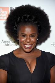 Uzo Aduba looked totally groovy wearing this partially braided afro at the New York Film Festival opening night party.