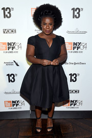 Uzo Aduba cut a flirty figure in a plunging, fit-and-flare LBD at the New York Film Festival opening night party.