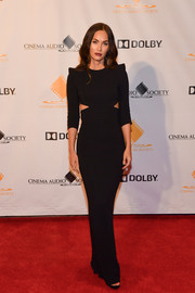 Megan Fox was edgy-sexy in a fitted black cutout gown at the Cinema Audio Society Awards.