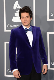 John Mayer opted for a whimsical, purple velvet blazer and bow tie at the 2013 Grammys.