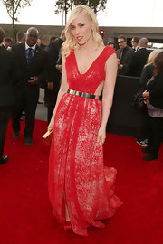 Natasha Bedingfield shined in this red gown with a metallic waistband at the Grammy Awards.