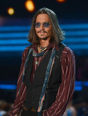 Johnny Depp is known for his quirky style, so it comes as no surprise that the actor opted for blue tinted aviator sunglasses at the 2013 Grammys.