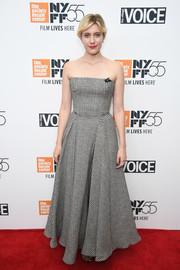 Greta Gerwig was classic and chic in a strapless glen plaid dress by Ralph Lauren at the New York Film Festival screening of 'Lady Bird.'