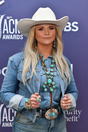 Miranda Lambrt blinged up with a statement turquoise necklace for the 2021 ACM Awards.
