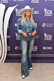 Miranda Lambert layered a blue denim jacket over a matching shirt for the 2021 ACM Awards.