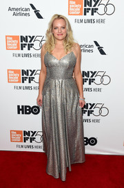 Elisabeth Moss looked radiant on the red carpet in a silver sequined gown by Dior at the New York Film Festival premiere of 'Her Smell.'