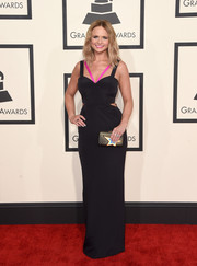 Miranda Lambert looked svelte and chic at the Grammys in a black Gabriela Cadena column dress with waist cutouts and hot-pink shoulder straps.