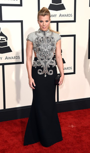 Kimberly Perry donned an intricately beaded Steven Kahlil gown for the Grammys.