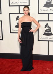 Olivia Culpo kept it classy at the Grammys in a black strapless gown by Dsquared2.