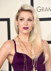 Bonnie McKee looked punky with her teased, side-parted hairstyle at the Grammys.