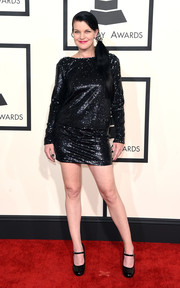 Pauley Perrette went for a leggy look in a sequined LBD during the Grammys.