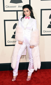 Charli XCX suited up in an iridescent white Moschino tux for the Grammys.