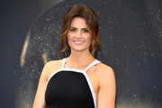 Stana Katic looked sophisticated with her loose updo and feathery tendrils at the Monte Carlo TV Festival.