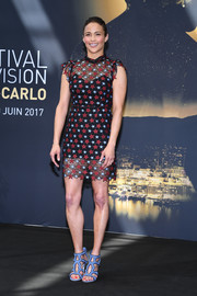 Paula Patton chose a fun and flirty star-patterned lace dress by Sandro for day 4 of the Monte Carlo TV Festival.
