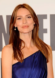 Saffron Burrows sported a sleek straight hairstyle at the San Sebastian Film Festival.