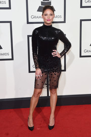 Vanessa Lachey put on a leggy display at the Grammys in a sheer-bottom sequin dress.