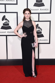 Anna Kendrick went for edgy glamour in a black mesh-panel column dress by Emanuel Ungaro for her Grammys red carpet look.