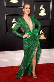 Celine Dion looked ageless and chic at the 2017 Grammys in a beaded green Zuhair Murad Couture gown with a plunging neckline and a high slit.